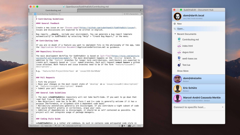 SubEthaEdit: Kollaborativer Mac-Texteditor nun Open Source –und kostenlos