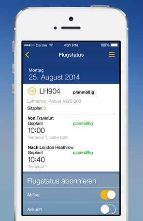Neben der iBeacon-Integration hat die iPhone-Version der Lufthansa-App eine neue Bedienoberfläche erhalten