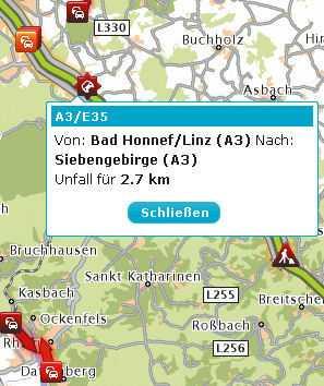 TomTom HD Traffic zeigt Staus, Baustellen und Unfälle an.