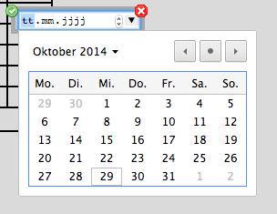 Screenshot der Datumsauswahl in Chrome