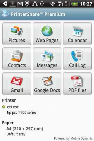 PrinterShare druckt Dokumente, Webseiten, E-Mails und mehr. Zahlreiche Drucker werden automatisch erkannt, wenn sie mit dem gleichen WLAN verbunden sind wie das Smartphone.