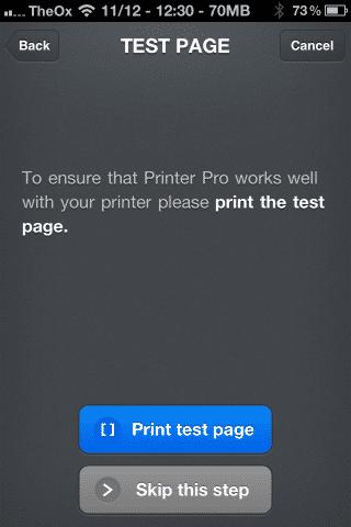 Printer Pro kann über den Ausdruck einer Testseite auf seine Funktion überprüft werden.