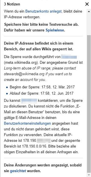 """Hinweis """"Deine IP-Adresse befindet sich in einem Bereich, der auf allen Wikis gesperrt ist. (...)"""""""