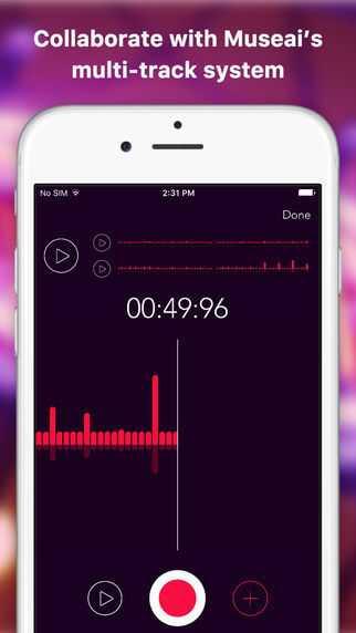 Mit Museai können Bandkollegen bers Smartphone an neuen Songs arbeiten.