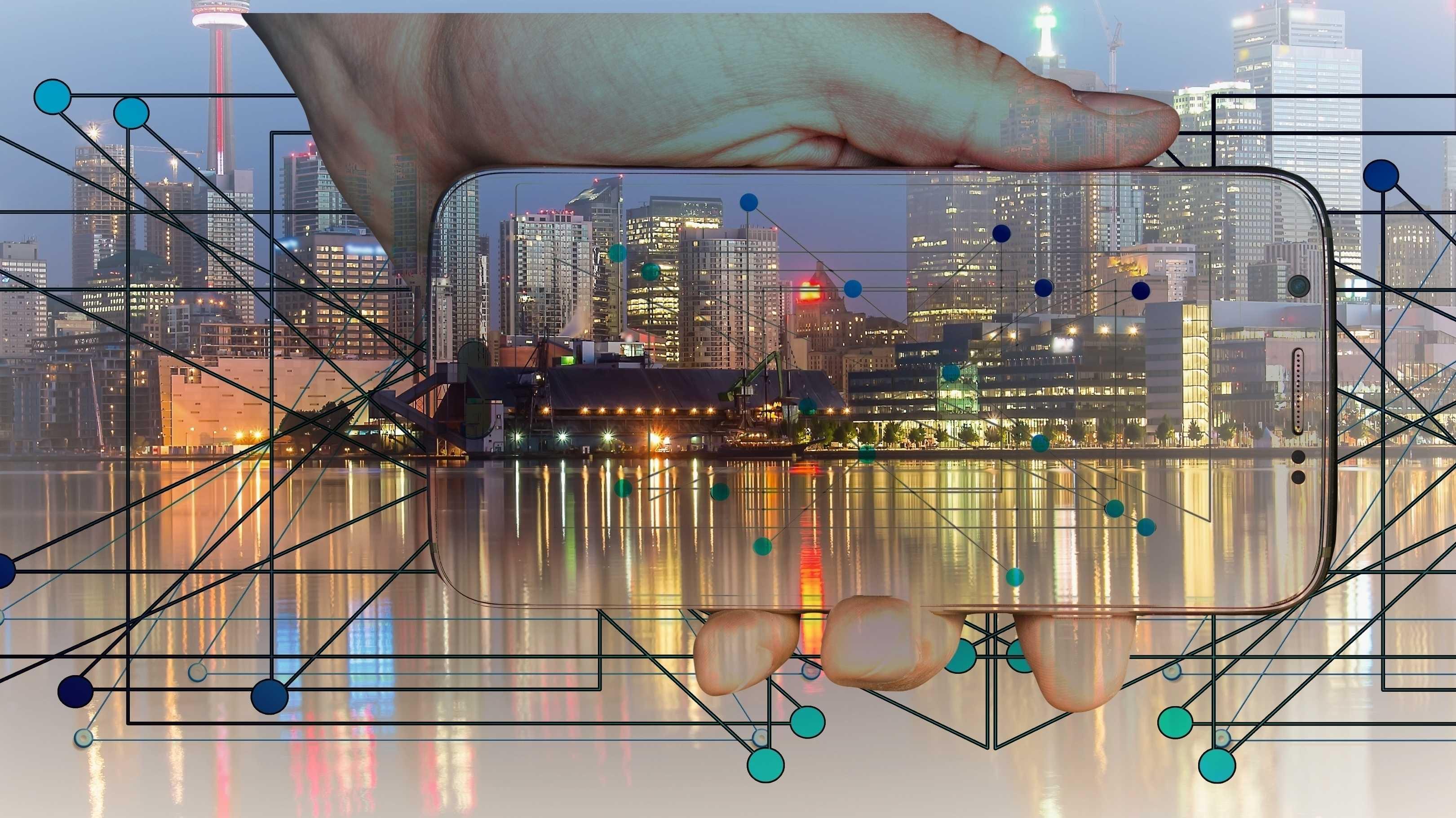Projekt, Arbeitsplätze, Smart City, Stadt, Smartphone