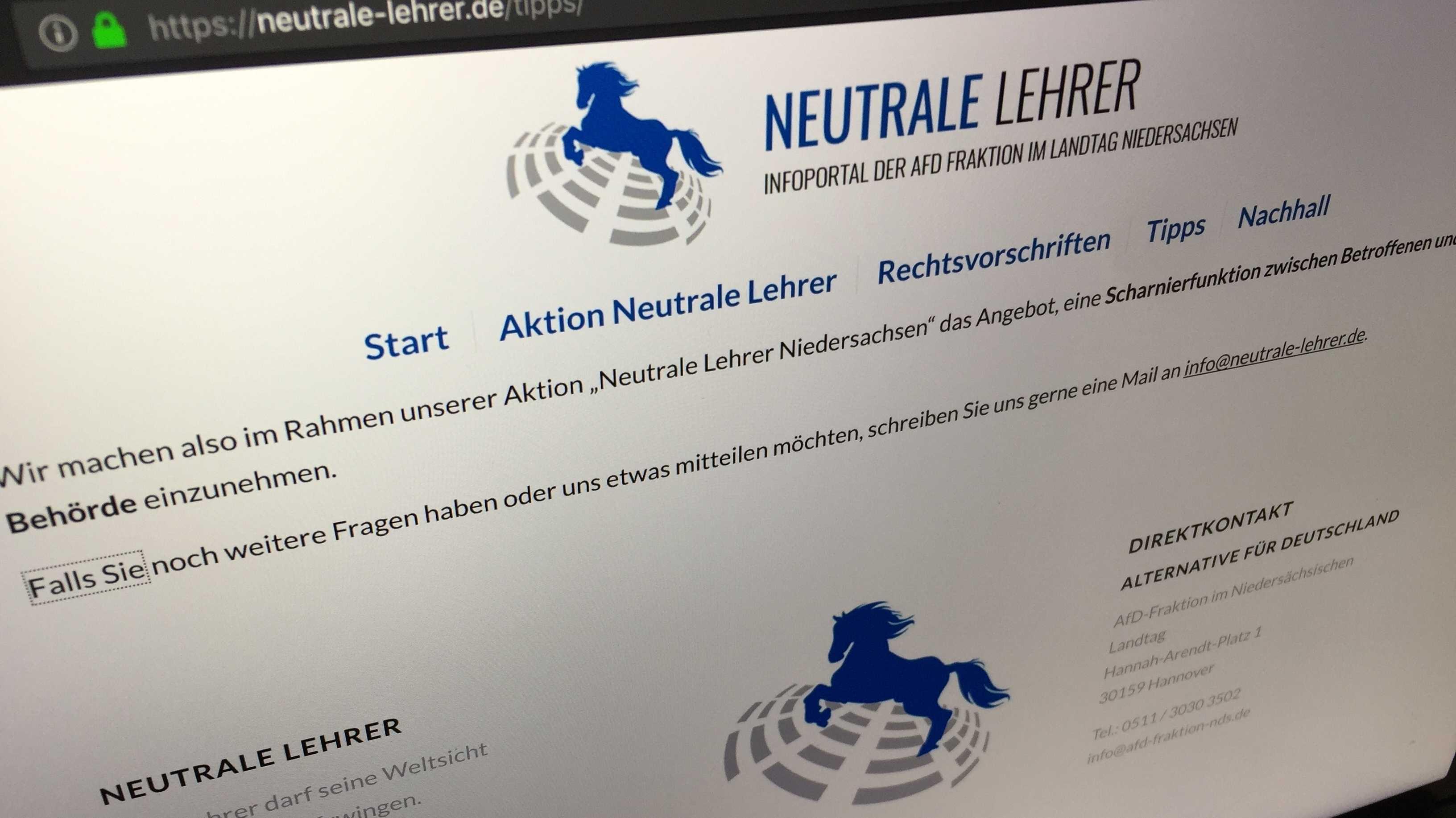 Niedersachsens AfD-Fraktion schaltet umstrittenes Lehrer-Portal frei