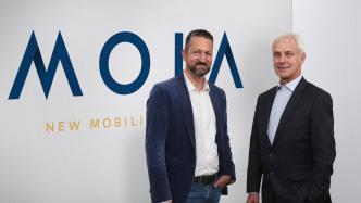 Moia-Chef Ole Harms (l.) mit VW-Chef Matthias Müller