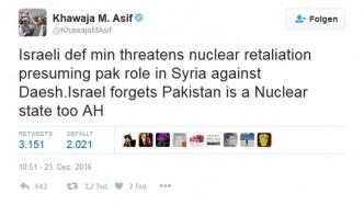 Nach gefälschtem Artikel: Pakistan droht Israel mit Atomschlag