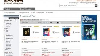 Intel-Preise bei Micro Center