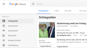Google News mit neuem Design