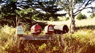 Vier nordamerikanische Postfächer in ländlicher Umgebung