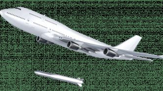 Zeichnung einer weißen Boeing 747 und darunter einer gerade ausgeklinkten Rakete