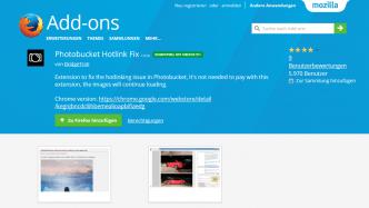 """Firefox-Erweiterung """"Photobucket Hotlink Fix"""" spähte Nutzer aus"""