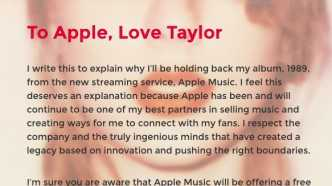 Brief Taylor Swift an Apple Music