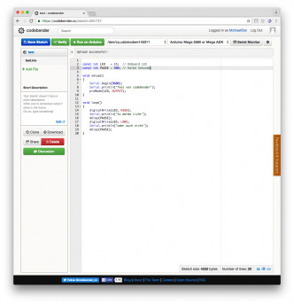 codebender im Einsatz (Browser = Chrome)