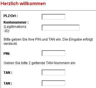 Phishing-Formular