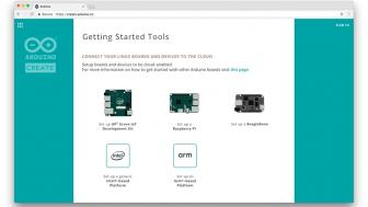 Screenshot von Arduino Create: Auswahl der unterstützten Linux-Boards