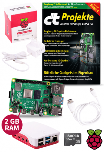 Bundle: Raspberry Pi 4 Model B 2GB RAM Starterset Classic Edition inkl. c't Projekte 2019