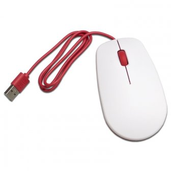 Offizielle Raspberry Pi Tastatur mit Maus - weiß/rot