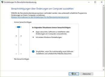 Um Windows noch effektiver vor Trojanern zu schützen, sollte man die Benutzerkontensteuerung auf die höchste Stufe stellen.