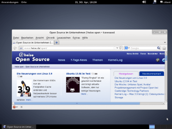 Der Standard-Desktop von Debian 7 ist nun Gnome 3 mit Gnome Shell. Mit dem schwarz-weiß-grauen Farbthema wirkt der Desktop sehr modern und weniger verspielt als früher.