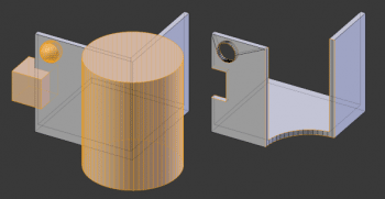 Mit Boolschen Operationen lassen sich Schnitte durch Objekte basierend auf anderen Objekten realisieren.