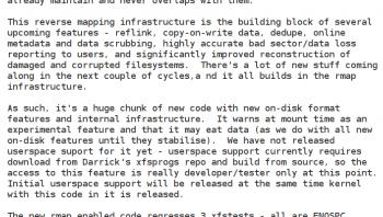 Die XFS-Entwickler planen einen ganzen Schwung von Verbesserungen.