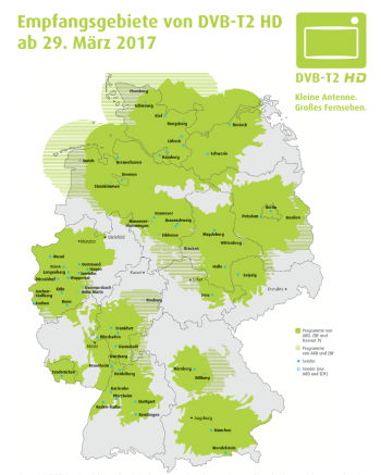 Ab März 2017 wird in den grün gekennzeichenten Gebieten DVB-T2 HD ausgestrahlt.