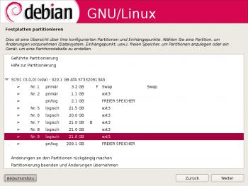 Die Partitionierung im Debian-Installer ist wenig komfortabel.