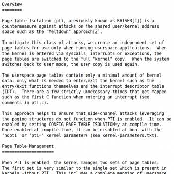 Die Kernel-Dokumentation erläutert den Trick von PTI detailliert.