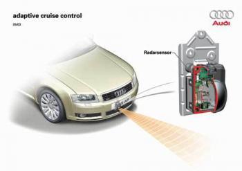 In ACC-Systemen der Oberklasse dominieren Radar-Systeme, um den Abstand zum Vordermann zu ermitteln; preisgünstigere Lösungen arbeiten mit Infrarot.