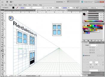 Mit dem Perspective Grid kann man in Illustrator auf einfache Weise perspektivische Grafiken anlegen.