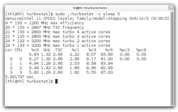 Turbostat wurde bei Linux 3.6 von Grund auf überarbeitet.