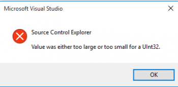 "Bug beim TFS-Check-In in Visual Studio: ""Value was either too large or too small for a UInt32""."