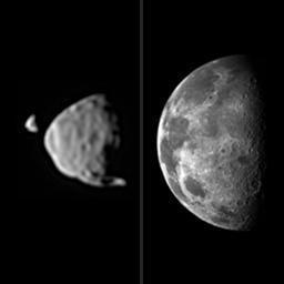 So groß würden die Marsmonde im Vergleich zum Mond erscheinen, wären sie so weit von der Erdoberfläche entfernt, wie jetzt vom Mars.