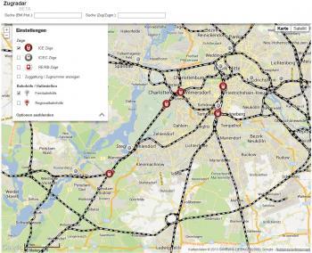 Zugradar der Deutschen Bahn