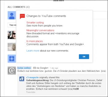 Google hat in den vergangenen Tagen das Kommentarsystem von YouTube umgestellt. Wer eine Anmerkung hinterlassen will, braucht nun zwingend ein Google+-Konto.