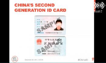 Muster einer mit RFID ausgestatteten Ausweiskarte aus China