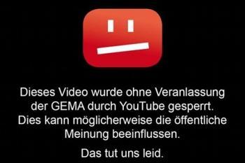 Gegenentwurf: Die Gema schlug alternative YouTube-Sperrtafeln vor, um ihre Sicht der Dinge zu verdeutlichen.