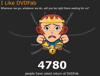 Niedlich, aber naiv: Das traurige Äffchen soll DVDFab-Nutzer dazu bewegen, sich für die Wiederherstellung von dvdfab.com zu plädieren.