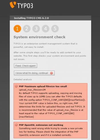 Das Installations-Tool checkt zunächst das System.