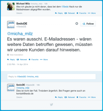 Sedo-Statement bei Twitter