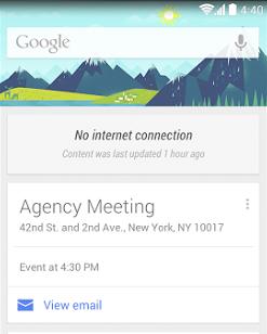 Google Now weißt darauf hin, wann die Karten letztmalig aktualisiert wurden.