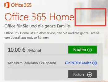 """Wie Sie sehen, sehen Sie nix: Office 365 Home ganz ohne """"Premium""""."""