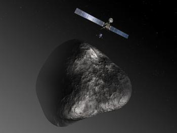 Künstlerische Darstellung von Rosetta, Philae und dem Kometen 67P