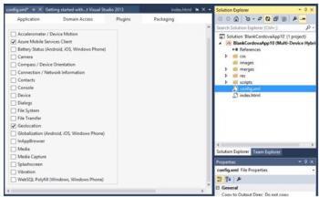 Zahlreiche Cordova-Plug-ins werden bei der Visual-Studio-Erweiterung bereits mitgeliefert.