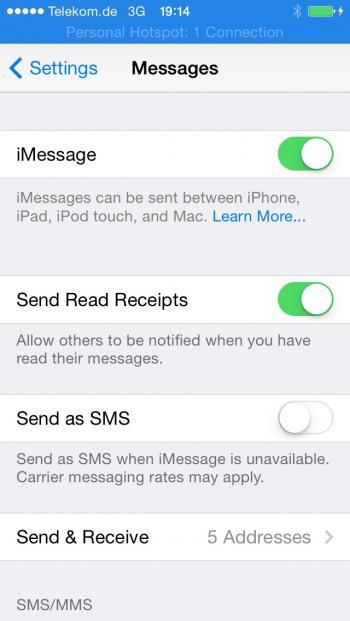 Das Ausschalten von iMessage in den iOS-Einstellungen hilft nicht immer