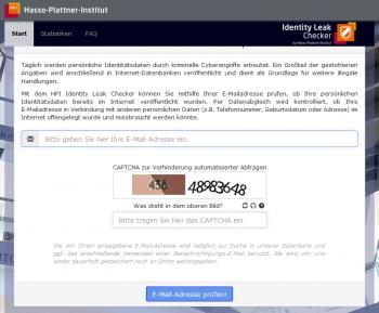 Nach Eingabe einer Mail-Adresse dursucht der Identity Leak Checker seinen Datenfundus.