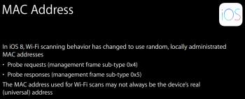 Zufällige MAC-Adressen sollen verhindern, dass man Bewegungsprofile von iOS-Nutzern erstellen kann.