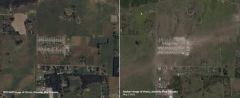 Skybox-Aufnahme von Vilonia in Arkansas im Jahr 2013 (links) und am 1. Mai 2014 nach einem Tornado (rechts)